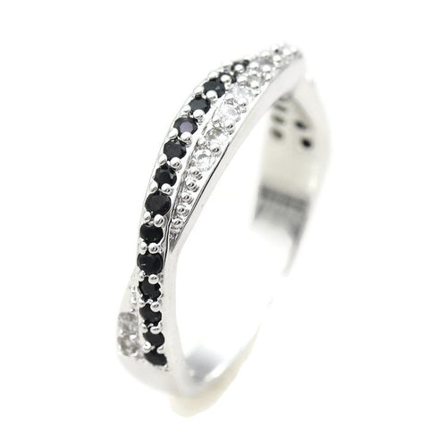 18k Gold Plated White Gold Finish Clear / Black CZ Twist Band Ring Sz 5-9