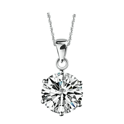 18k Gold Plated White Gold Finish Solitaire Round CZ Pendant w/ Chain