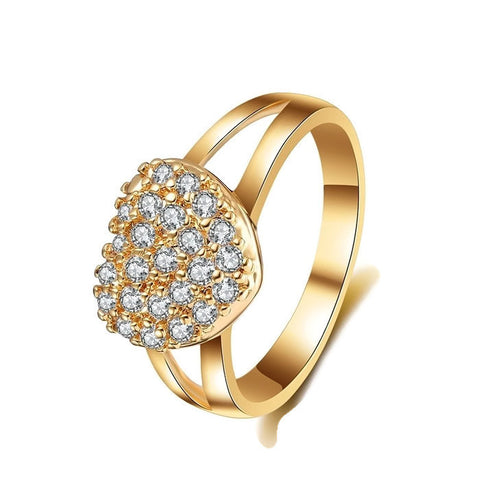 18k Gold Plated CZ Heart Ring Sz 6-8