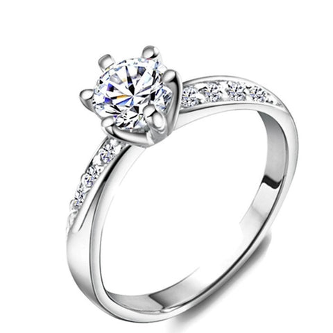 18K Gold Plated White Gold Finish Casted Setting Solitaire CZ Ring Sz 4.5-10