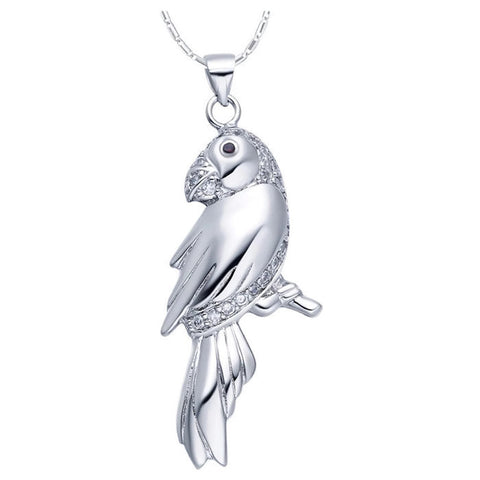 Sterling Silver Unique Design CZ Parrot Pendant w/ Chain