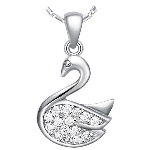 Sterling Silver Unique Design Swan CZ Pendant w/ Chain