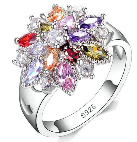 Sterling Silver Stunning Multi Color Birthstone Design Band Ring Sz 6-9