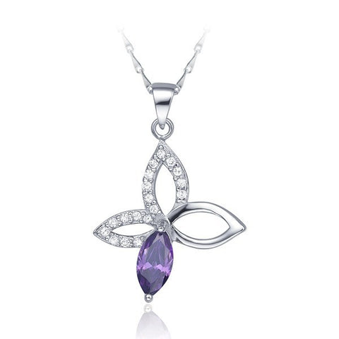 Sterling Silver Stunning Amethyst Butterfly CZ Cut Out Pendant w/ Chain