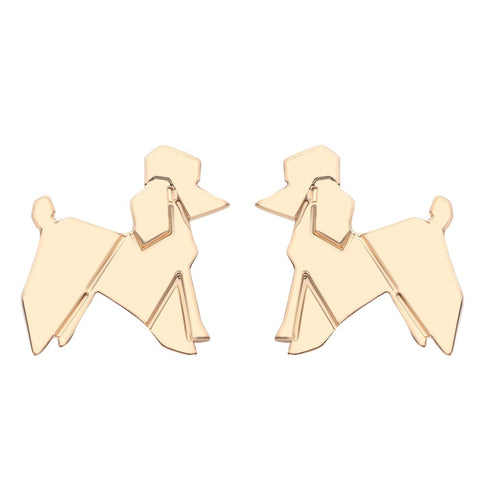 18K Gold Plated Cute Poodle Stud Earrings