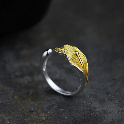 Sterling Silver Unique 2 Tone Leaf / Flower Design Adjustable Ring