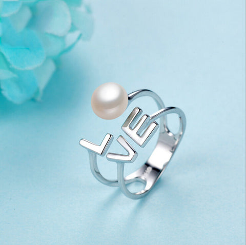 Sterling Silver Beautiful Pearl Love Design Adjustable Ring