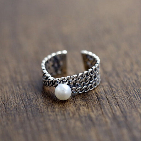 Sterling Silver Chain Woven Pearl Design Adjustable Ring