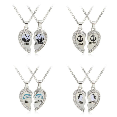 18K Gold Plated White Gold Finish Broken Heart Pendant w/ Chain (Multiple Selections)