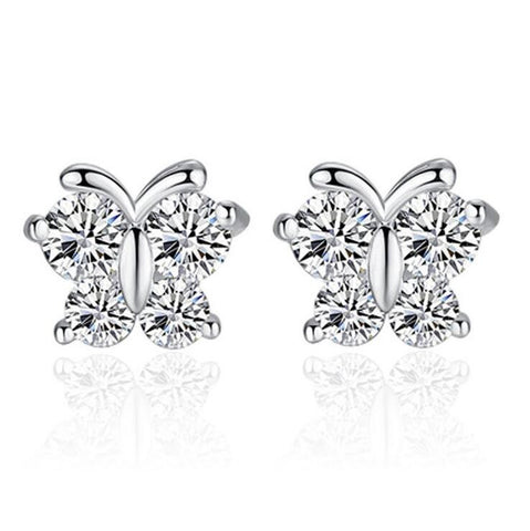 Sterling Silver Cute Design CZ Butterfly Stud Earrings