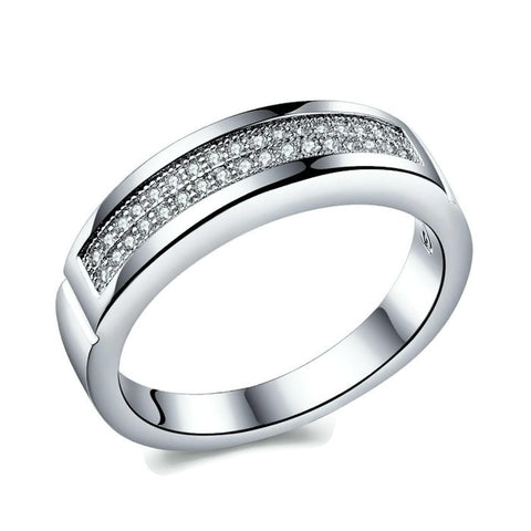 Sterling Silver Unique Half Eternity Band Ring Sz 6-8