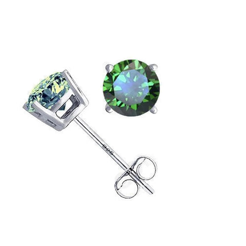 Sterling Silver 4 mm Classic Round Emerald CZ Stud Earrings