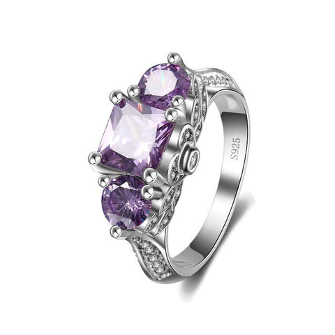 Sterling Silver Stunning Design Past Present Future Amethyst Ring Sz 6-9
