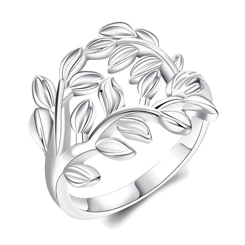 Sterling Silver Cute 3-D Design Leaf Style Band Ring Sz 7-8