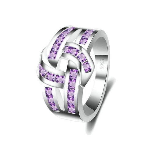 Sterling Silver Unique Design Light Amethyst Knot Ring Band Sz 6-9