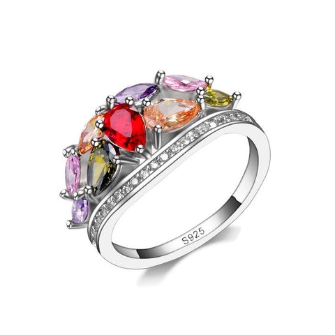 Sterling Silver Gorgeous Multi Birthstone Design Band Ring Sz 7-9