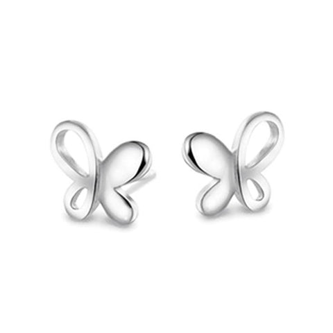 18k Gold Plated White Gold Finish Cute Cut out Butterfly Stud Earrings