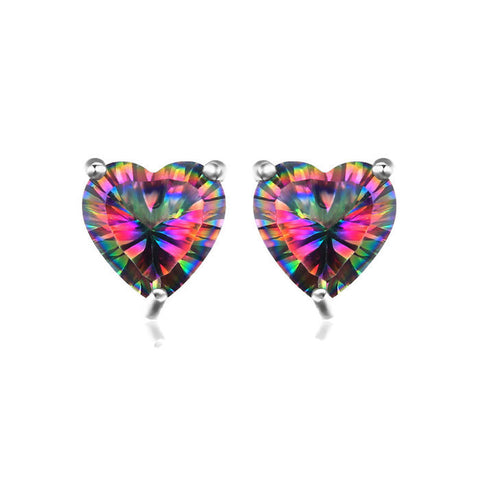Sterling Silver Gorgeous 3 Ct Simulated 7 mm Rainbow Heart Topaz Stud Earrings