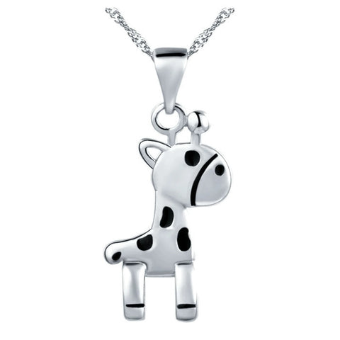 18K Gold Plated White Gold Finish High Quality Giraffe Pendant w/ Chain