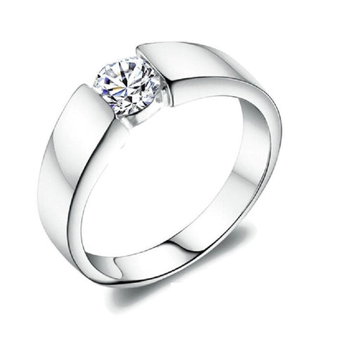 Sterling Silver Cute Design Round CZ Stone Promise Ring Sz 4.5-11.25