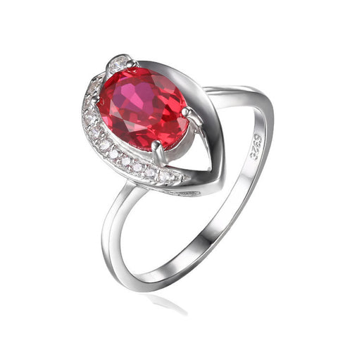 Sterling Silver Gorgeous 1.4 Ct Ruby Solitaire Ring Sz 6-9