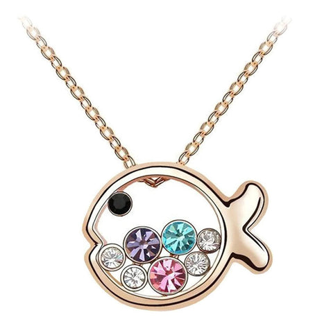 18K Gold Plated Rose Gold Finish Multi Colored Cute Fish Pendant w/ Chain