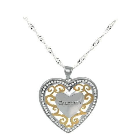 18k Gold Plated White Gold Finish 2 Tone Grandma Heart Pendant w/ Chain