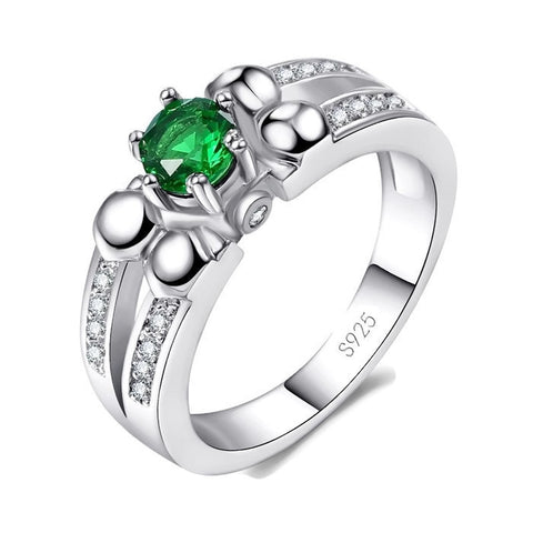 Sterling Silver Cute Round Emerald Cocktail Ring Sz 6-9
