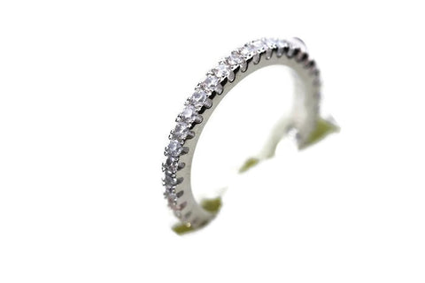 Sterling Silver Stunning & Simple Clear CZ Eternity Band Ring Sz 6-9