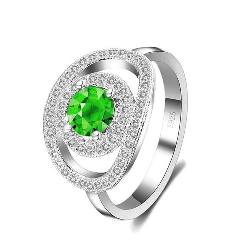 Sterling Silver Super Elegant Geo Metric Design Round Green Emerald Ring Sz 7-9