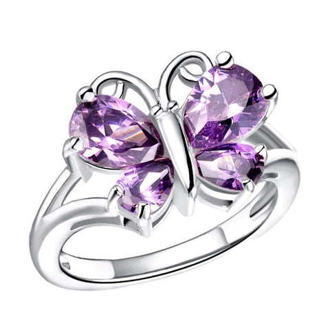 18K Gold Plated White Gold Finish Gorgeous Amethyst CZ Butterfly Ring Sz 6-9