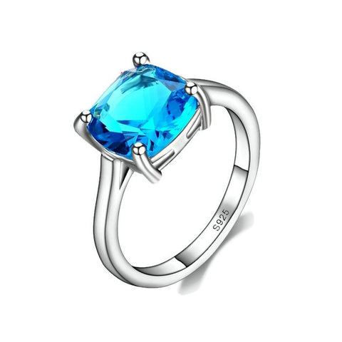 Sterling Silver Stunning Classic Square Cut Blue Topaz Ring Sz 6-9