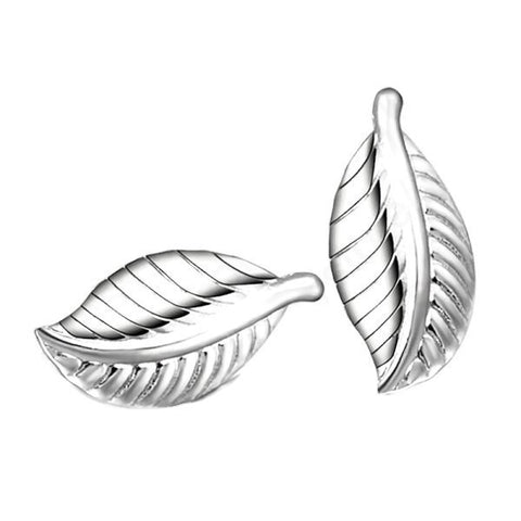 Sterling Silver Cute Leaf Design Stud Earrings
