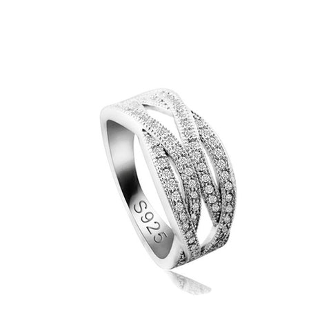Sterling Silver Unique Tangled Style CZ Band Ring Sz 5-9