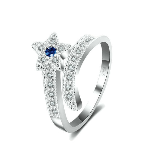 Sterling Silver Cute Blue Sapphire Star Shaped CZ Ring Sz 7-9