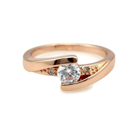18k Gold Plated Rose Gold Finish Cute Solitaire CZ Ring Sz 4.5-10