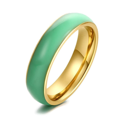 Stainless Steel Stunning Green Ceramic Design Band Ring Sz 7-11