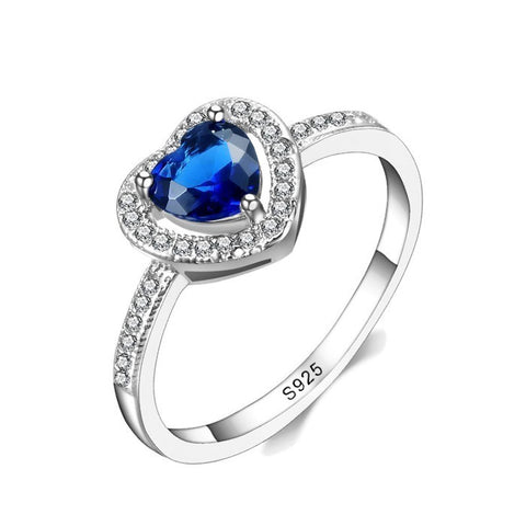 Sterling Silver Stunning Halo Blue Sapphire Heart Ring Sz 7-9