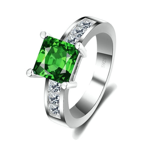 Sterling Silver Stunning Green Emerald Princess Cut Ring Sz 6-9