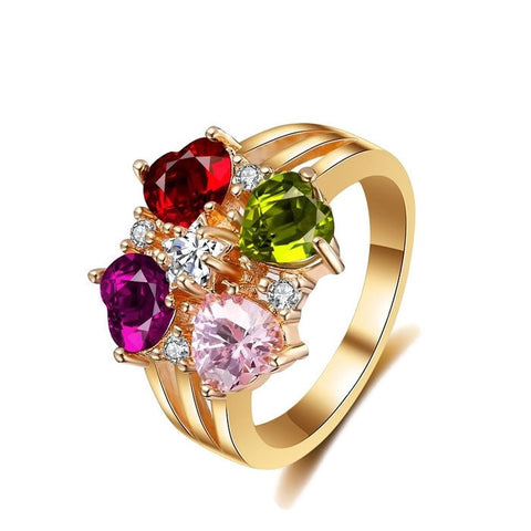 18k Gold Plated Multi Colored Heart Cut Ring Sz 7-9