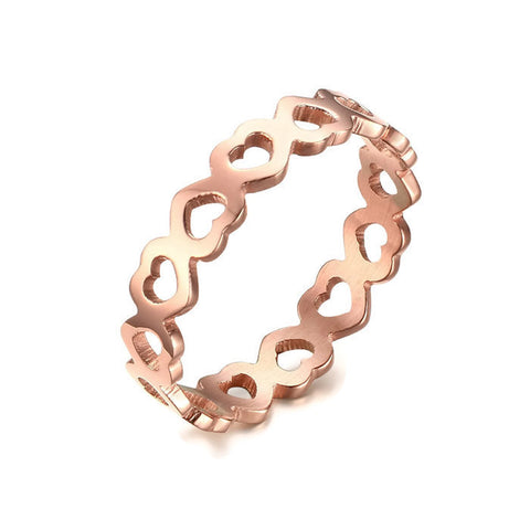 Stainless Steel Rose Gold Tone Continuous Heart Cut Out Ring Band Sz 6-8