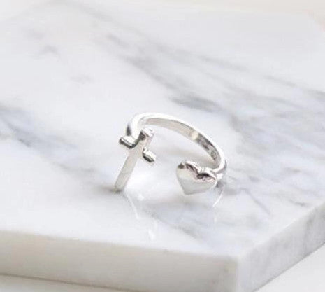Sterling Silver Cute Cross & Heart Design Adjustable Ring