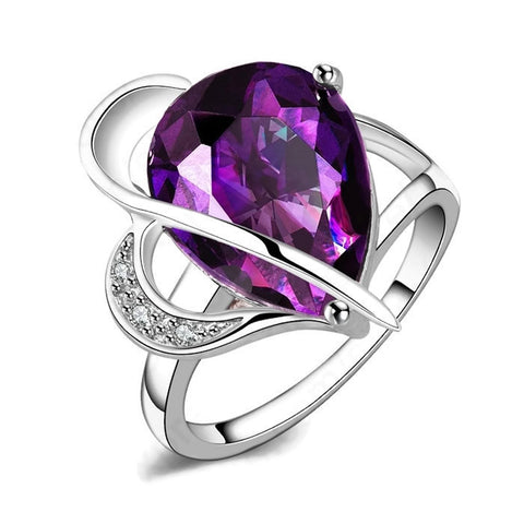 Sterling Silver Gorgeous Tear Drop Design Amethyst Ring Sz 8