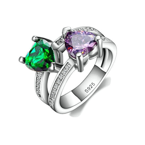 Sterling Silver Unique Design Emerald / Amethyst Double Heart Ring Sz 7-9