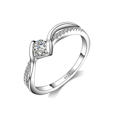 Sterling Silver Twisted Style Cute Round CZ Ring Band Sz 7-9