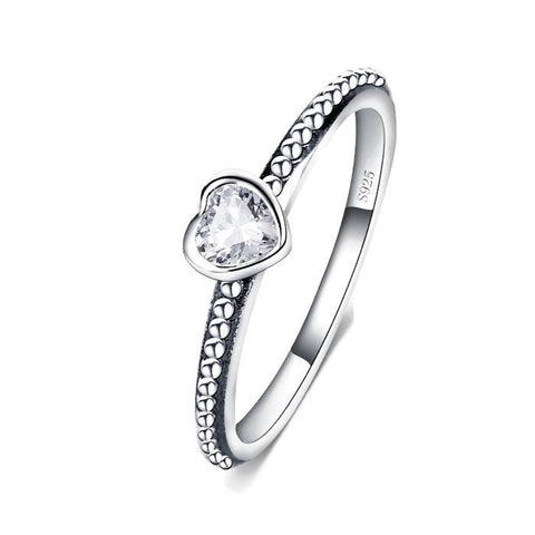 Sterling Silver Cute & Unique Clear CZ Heart Ring Sz 5-9