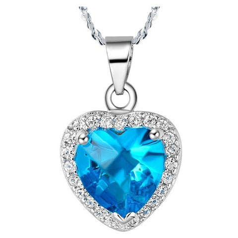 Sterling Silver Gorgeous Blue Topaz Heart CZ Pendant w/ Chain