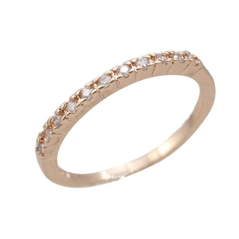 18k Gold Plated Rose Gold Finish Half CZ Eternity Band Ring Sz 4.5-10