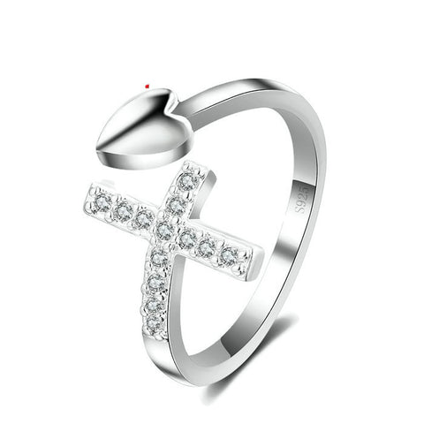Sterling Silver Cute Heart & Cross CZ Adjustable Ring