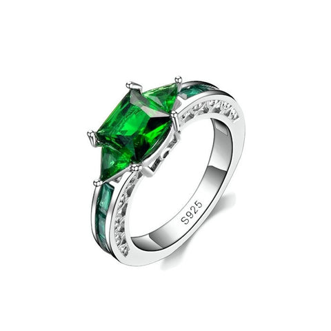 Sterling Silver Sleek Emerald Princess Cut Casted Setting Ring Sz 6-9